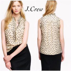 EUC J Crew Natasha Silk Wildcat Leopard Top 4